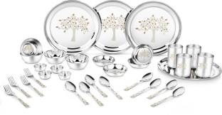 Classic Essentials Pack of 32 Stainless Steel Stainless Steel Vriksha Dinner set ,32-Pieces,Silver -Heavy Gauge with Permanent Laser Design Dinner Set