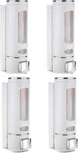 Aster ASTER Cylindrical Multi Purpose Wall Mounted Liquid Soap/Shampoo/Hand Wash/Lotion/Conditioner/Sanitizer/Gel Dispenser for Home, Office Bathroom & Kitchen Sink(350 ml, ABS, White Color) (Pack of 4) 350 ml Liquid, Lotion, Gel, Foam, Conditioner, Soap, Shampoo, Sanitizer Stand Dispenser