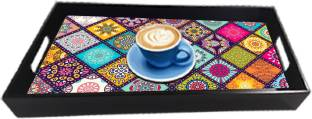 paper pebbles Home & Kitchen (multicolor) Premium Wooden Serving Tray for Home and Office Design Tray