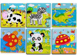 Wishkey Pack Of 6 Wooden Jigsaw Animal Puzzle Early Age Learning Educational Preschool Toy For Toddlers & Kids