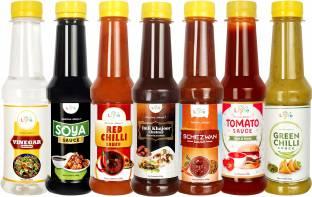 LIYFE Combo of 7 Sauce (Imli Dates Chutney, Schezwan Sauce, Red Chilli Sauce, Green Chilli Sauce, Tomato Ketchup, Vinegar, Soya Sauce) 200 gm each - Sauce Combo Sauces & Ketchup