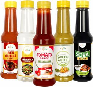 LIYFE Combo of 5 Sauce (Tomato Ketchup, Red Chilli-Sauce, Soya-Sauce, Green-Chilli Sauce, White Vinegar) - 200 gm each - Sauce Combo Sauces