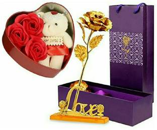 Anant Gift Gallery Soft Toy, Artificial Flower Gift Set