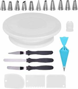MAFAHH Combo of Cake Making Turn Table , 12 Steel Nozzles Coupler with Piece Frosting Piping Bag, 3-in-1 Multi-Function Stainless Steel Cake Icing Spatula Knife Set and 3 Pieces of Dough Scrapper | Cake Tools Set – White 19 Pcs Combo Multicolor Kitchen Tool Set