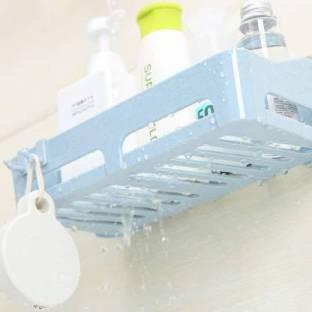 alif Bathroom Storage Shelf & Kitchen Storage Suction Cup Multi Storage Caddy Holder Stand Plastic Wall Shelf (Number of Shelves - 1, Blue)