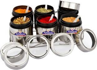 Apeiron Spice Box | Spice Container | Masala Dabba | Dry Fruit Box | Kitchen Container | Storage Box | Storage Container 6 Piece Spice Set