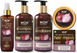 WOW SKIN SCIENCE Onion Black Seed Oil Hair Care Ultimate 4 Kit (Shampoo + Hair Conditioner + Hair Oil + Hair Mask) - 1000 ml