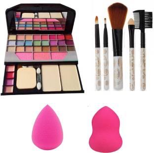 Butees18 6155 Makeup kit + 5 pcs Makeup Brush + 2 pc Blender Puff Combo
