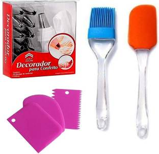 LOAM Plus Cake Combo of 3 Pcs Scraper ; Silicone Spatula Brush & 12 Pcs Cake Decorating Set Frosting Icing Piping Bag Tips with Steel nozzles Cake Combo of 3 Pcs Scraper ; Silicone Spatula Brush & 12 Pcs Cake Decorating Set Frosting Icing Piping Bag Tips with Steel nozzles Multicolor Kitchen Tool Set