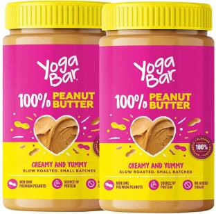 Yogabar 100% Pure Peanut Butter   All Natural, 2 x 400g   Creamy & Yummy Unsweetened Peanut Butter made from Slow Roasted Peanuts in Small Batches   Non-GMO, Vegan & Keto Peanut Spread 800
