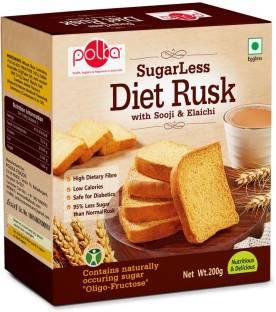 Polka Sugar Less Diet Rusk ,Pack Of 1 ,200 GM ,Suji,Elaichi Sooji, Elaichi flavored Sooji Rusk