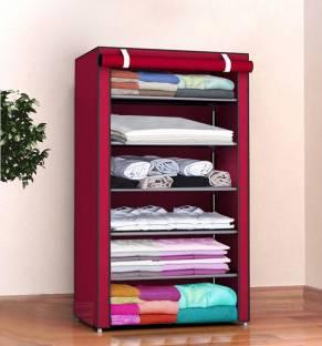 Sasimo 1-Door 6-Shelf Fabric Collapsible Carbon Steel Collapsible Wardrobe
