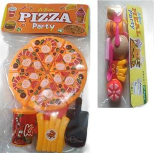 Kaushik Gauri Pizza Set with Burger -Party Fast Food Pretend Cooking & Cutting Play Set Toy for Kids and Children-(Pizza and Burger Set)