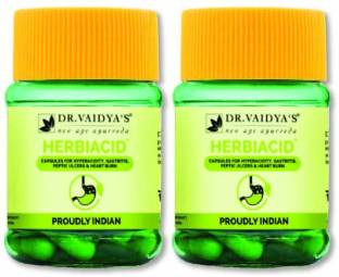Dr. Vaidya's Herbiacid Capsule Ayurvedic and Natural Medicine For Acidity and Gas - Pack of 2
