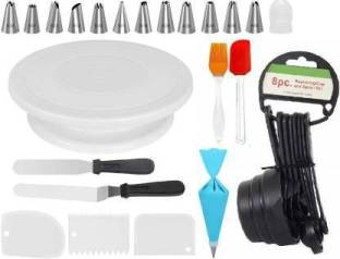 ALAMDAAR Combo Of 1 Cake Turntable, Set of 8 Measuring Cups and Spoons, Set of 3 Icing Smoother, 1 8inch Straight Pallete Knife, 1 8inch Angular Pallete Knife, 1 Silicon Brush, 1 Silicon Spatula, Reusable Icing Piping Bag with 1 Coupler and 12Pcs Steel Nozzles Set for Cake Decoration Kitchen Tool Set Kitchen Tool Set