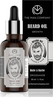 THE MAN COMPANY Beard Oil for Growing Beard Faster with Almond & Thyme, 100% Natural, Best Beard Growth Oil for Men, Nourishes & Strengthens Uneven Patchy Beard - 30ML Hair Oil