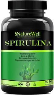 Naturewell Premium Spirulina Powder Super Food for Men & Women - 60 Capsules