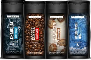 THE REAL MAN Charcoal   Coffee   3 in 1 Hydro Wash Shower Gel   Shea Butter Body Wash Combo   Made in India.