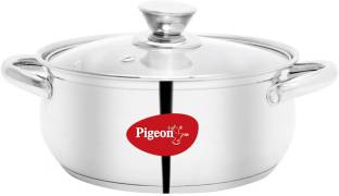 Pigeon Special Stainless Steel Belly Casserole 16cm with Glass Lid Cook and Serve Casserole