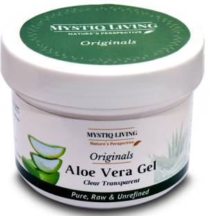Mystiq Living Pure Aloe Vera Gel (Clear) | Great For Face, Body & Hair |