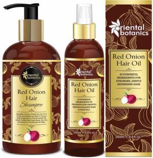 Oriental Botanics Onion Hair Care Combo | Red Onion Hair Shampoo + Red Onion Hair Oil