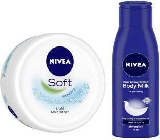 NIVEA Soft Moisturising Crme 300ml with Nourishing Body Milk Lotion, 75ml