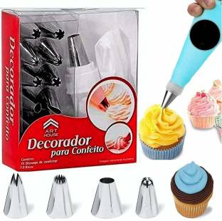 ZURU BUNCH 12 Pieces Set & Measuring Spoons & Cups | Frosting Icing Piping Bag Tips | 12 Different Designs Steel Nozzles | Cake Decorating & Measuring Tools Cake Decoration Icing Set