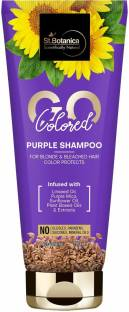 StBotanica GO Colored Purple Hair Shampoo - With Linseed, Purple Mica, Sunflower Oil, No SLS/Sulphate, Paraben, Silicones, Colors
