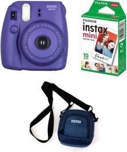 FUJIFILM Instax Mini Mini 8 Grape Instant Film Camera with10x1 film and Pouch Instant Camera