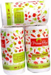 Green Tree 4 Ply Kitchen Towel, Paper Towel, Paper Role Tissue Roll 20 cm * 20 cm - Pack of 3 with 240 Sheets