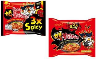 Samyang 2X Spicy Noodles -140 g & 3X Spicy Noodles - 140 g(Pack of 2) (Imported) Instant Noodles Non-vegetarian