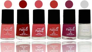 Fabia Nail Polish Matte Look Attractive Your Nails Baby Pink-Bold Red-Strawberry-Candy Orange-Dark Magenta-White