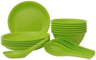 INCRIZMA 18 Pcs Square Dinner Set Lime Green (1151LG) Plate, Bowl, Spoon Serving Set