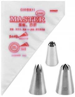VAAMnational ICING PIPING BAG FOR CAKE DECORATION, Disposable Piping Bag Stainless Steel Reusable Decorating 3 Nozzle ( 50 PCS SMALL BAGS ) Disposable Piping Bag