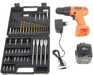 Black & Decker CD121K50 12-Volt Cordless Drill/Driver with Keyless Chuck and 50 Accessories Kit CD121K...