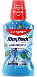 Colgate Maxfresh Plax Antibacterial Mouthwash, 24/7 Fresh Breath - Pepper Mint