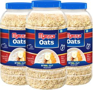 Manna by Manna Oats - 3kg (1kg x 3 Jars) | Gluten Free Steel Cut Rolled Oats | High in Fibre & Protein | 100% Natural | Helps Maintain Cholesterol. Good for Diabetics