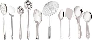 Petals Stainless Steel Cooking And Serving Spoons Spatulas, 10-Pieces Set Stainless Steel Ladle