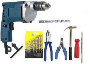 Tulsway Heavy Duty 10mm Electric Drill Machine with 13pc hss Plier Wire Tester Screwdriver Hammer Maso...