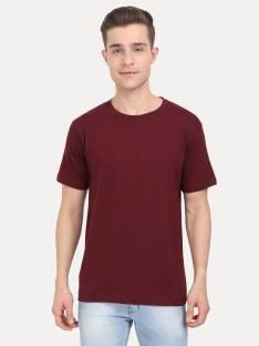 FLEXIMAA Solid Men Round Neck Maroon T-Shirt