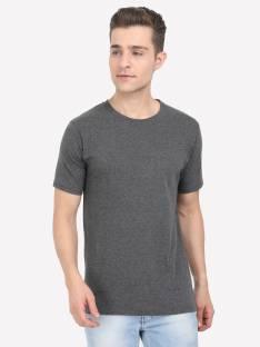 FLEXIMAA Solid Men Round Neck Grey T-Shirt