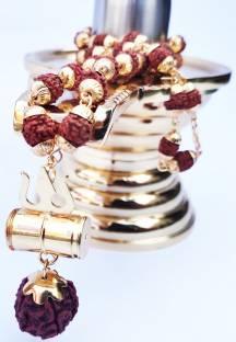 Cyan spritual NEW TRENDING RELIGIOUS FASHIONABLE LOOK CAP RUDRAKSHA DAMRU SHIV SHAKTI LOCKET GOLD PLAT...