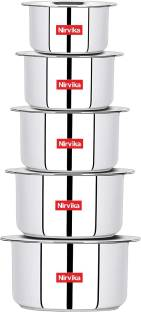 Nirvika 5 Pcs High Quality Heavy 22 Gauge Cook and Serve Use tope set with lid Container /Tope/Cookware ( Non Stick) Cookware Set