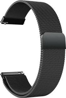 ACM Watch Strap Magnetic Loop 20mm Compatible with Amazfit Bip U ( Smartwatch Luxury Metal Chain Band Black) WSM4M20BK1006N1 Smart Watch Strap
