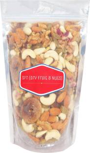 SFT Mixed Dry Fruits, Premium Best Quality Nuts, Mixture Of- (Almonds, Cashews, Green Raisins, Dry Figs, Pistachios, Walnut Kernels) Assorted Nuts