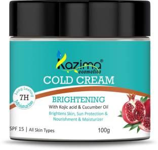 KAZIMA Brightening COLD CREAM (100g) SPF15 with Kojic Acid & Cucumber Oil For Nourishment & Moisturizer, Sun Protection