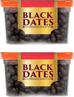 Manna Black Dates - 800g (400g x 2 Packs) | Select Premium Organic Handpicked Dates | Khajoor | Khajur | Soft Dried Healthy Snack | Soft & Juicy texture | Zero Added Sugar & Preservatives | Rich in Iron, Fibre & Vitamins Dry Dates Dry Dates