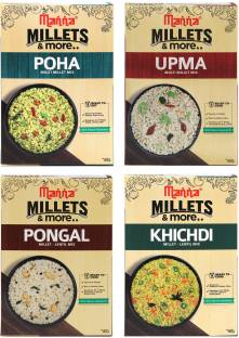 Manna Instant Millet breakfast - Combo Pack of 4 (12 Servings) - Millet Upma, Poha, Khichdi, Pongal (180g each) - 3 Servings per pack | 100% Natural - No Preservatives/ No Artificial colour or flavours. 720 g