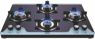 Elica Slimmest 4 Burner Auto Ignition Gas Stove with Double Drip Tray and Forged Brass Burners Glass Automatic Stove