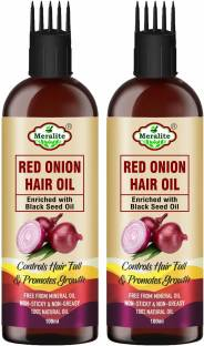 Meralite Red Onion Hair Oil - With Deep Root Hair Applicator - Controls HairFall & Promotes Growth - Hair Oil